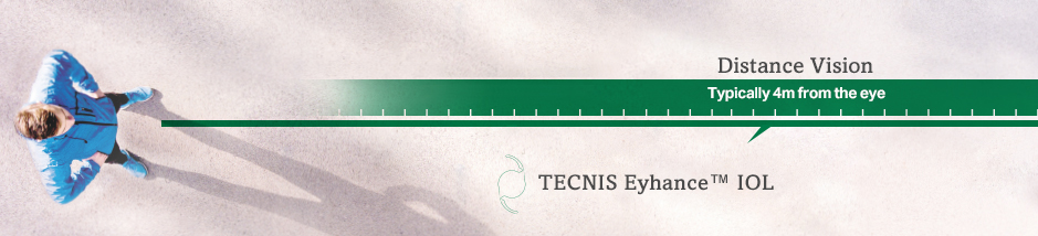 Man showing intermediate, and distance vision  with TECNIS Eyhance® IOL