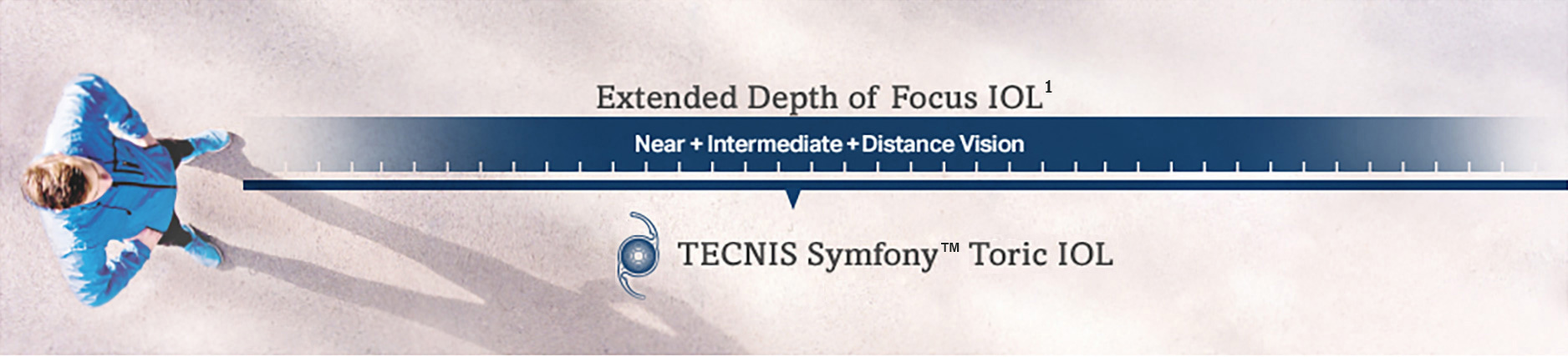Man showing intermediate vision and distance visual range of TECNIS® Symfony® Toric IOL