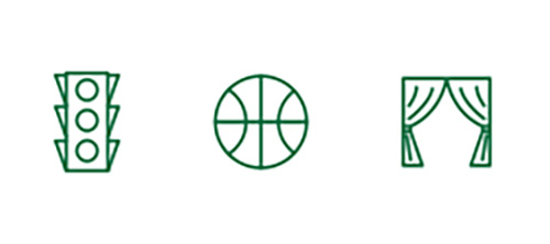 Streetlight, basketball, and stage curtain icons representing improved distance sight